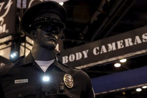 Police body cameras are seen on a mannequin at an exhibit booth by manufacturer Wolfcom at the International Association of Chiefs of Police conference in Chicago, Illinois, October 26, 2015.     REUTERS/Jim Young  - RTX1TCZZ