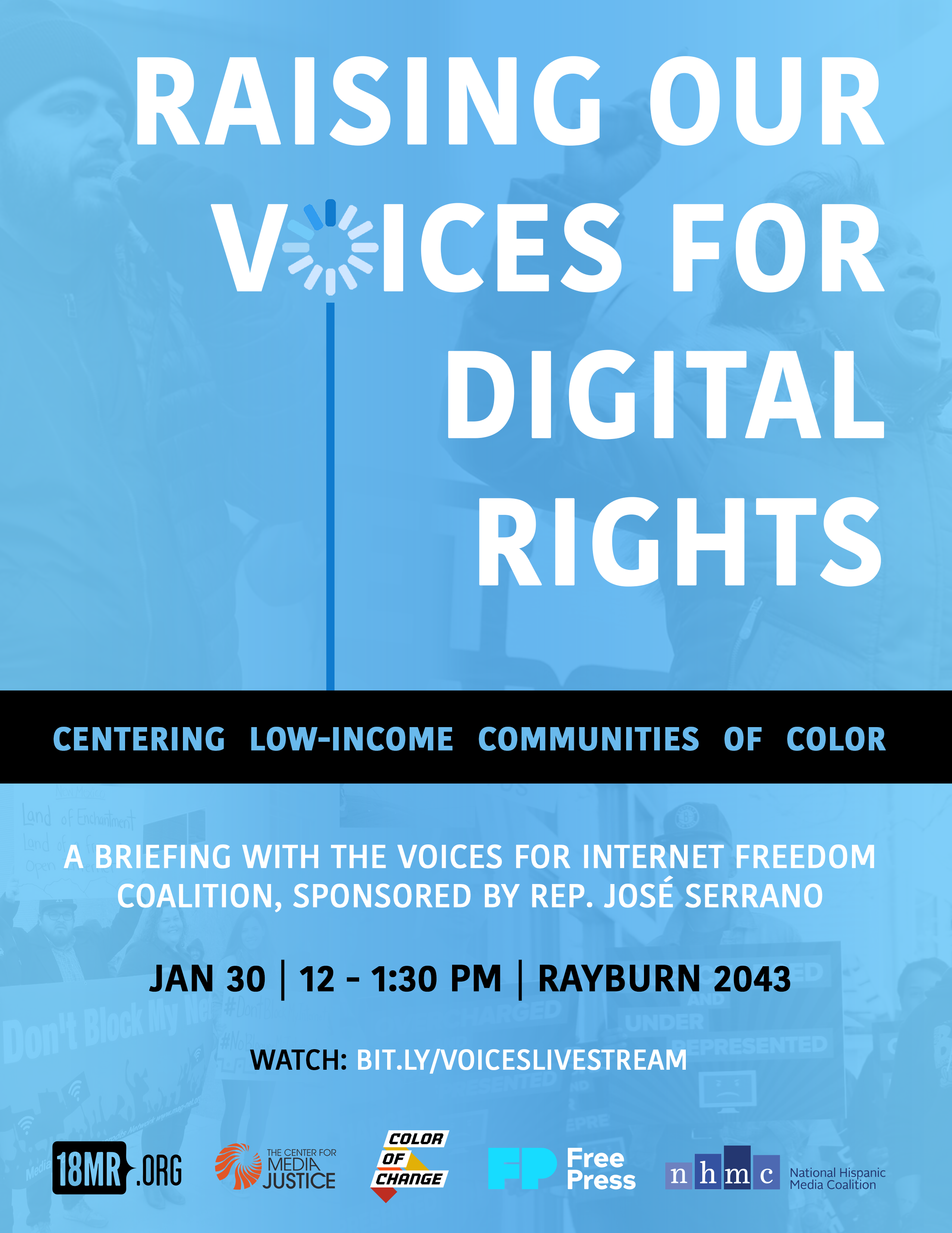 """Image: A flyer for """"Raising Our Voices for Digital Rights,"""" a briefing for new members of Congress on Jan 30th at 12 pm ET, in Washington D.C. Watch the livestream: bit.ly/voiceslivestream. Hosted by Voices for Internet Freedom Coalition."""