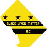 Black Lives Matter DC Logo shows a yellow outline of Washington DC with three black stars above two black lines, within which the name of the organization is written.