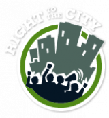 Right to the City Logo (shows a silhouette of protesters under a city skyline.)