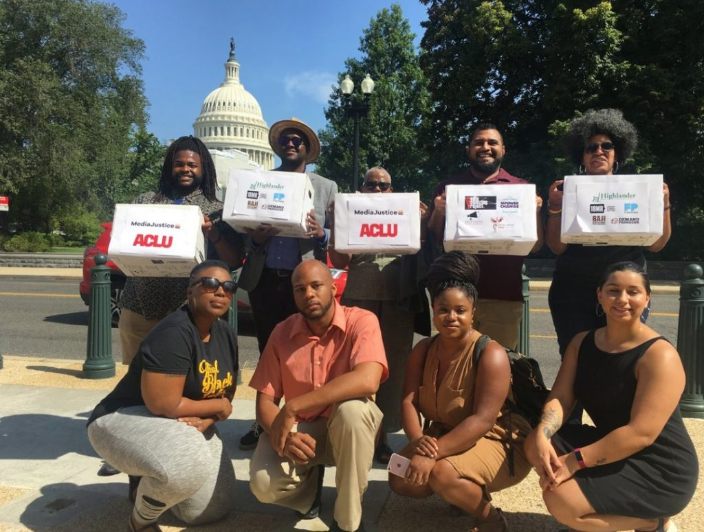 The #ProtectBlackDissent delegation in D.C. on July 17th, ready to deliver over 100,000 petition signatures to Congress.