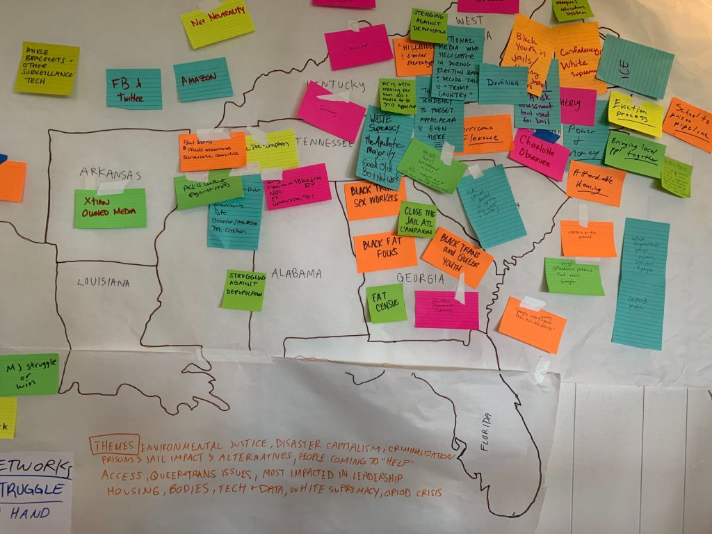 A map of the U.S. Southern region with post-it notes indicating media justice fights happening throughout the region.