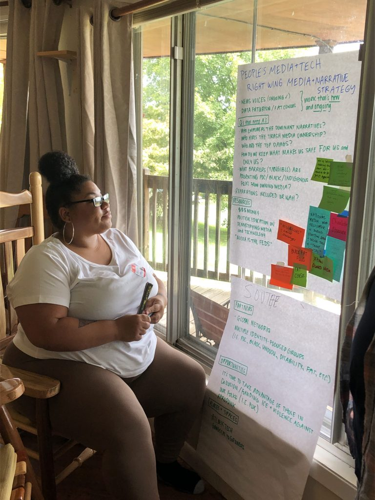 MediaJustice Network Member, Ashleigh Shackelford of Racial Justice Action Center, Solutions Not Punishment Collaborative, outlining areas of intervention to address right-wing media and narrative strategy during our Southern Regional Membership Assembly at Highlander Center.