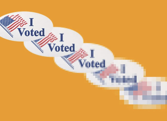 "a series of ""I VOTED"" Stickers becomes increasingly pixelated and unclear over a light orange background"