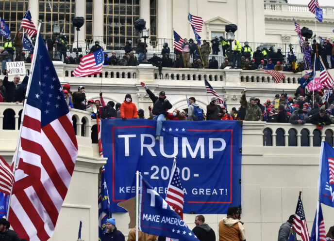 A pro-Trump mob breaches the Capitol on 6 January, days before Trump was banned from Twitter. Photograph: Carol Guzy/Zuma Wire/Rex/Shutterstock